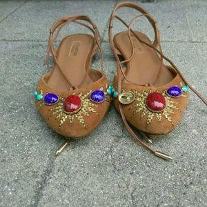 Aquazzura Ornament Gladiator Ballet Jewel  Flats
